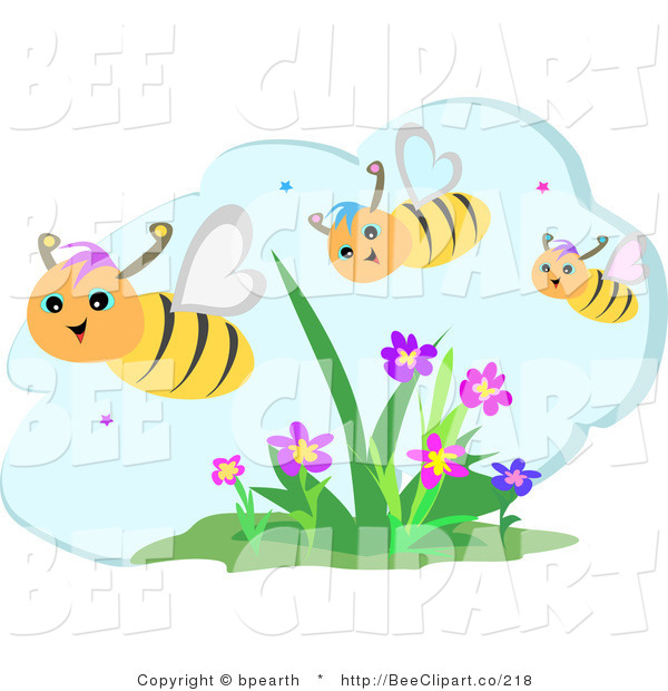 Vector Clip Art of a Trio of Happy Honey Bees Flying over Flowers on a Beautiful Day