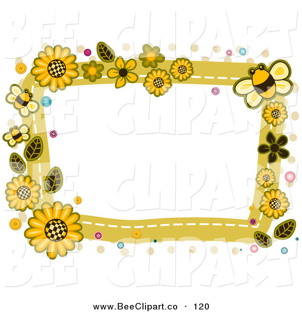 Vector Clip Art of a White Frame Bordered in Yellow Sunflowers and Bees