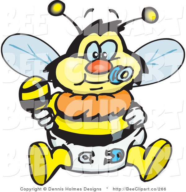 Vector Clip Art of a Yellow and Black Baby Bumble Bee Character in a Diaper, Sucking on a Pacifier and Holding a Rattle
