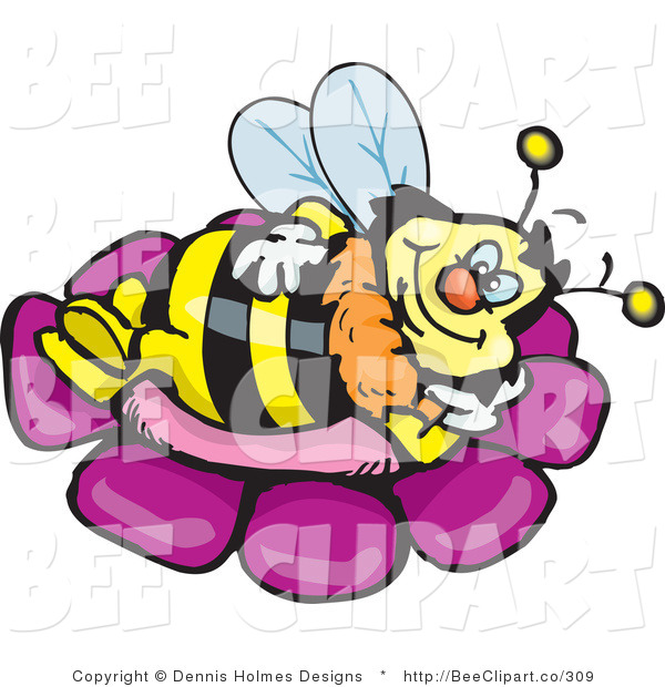 Vector Clip Art of a Yellow and Black Honey Bee Character Relaxing on a Purple Flower