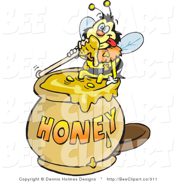 Vector Clip Art of a Yellow and Black Honey Bee Character Sitting on the Rim of a Honey Jar