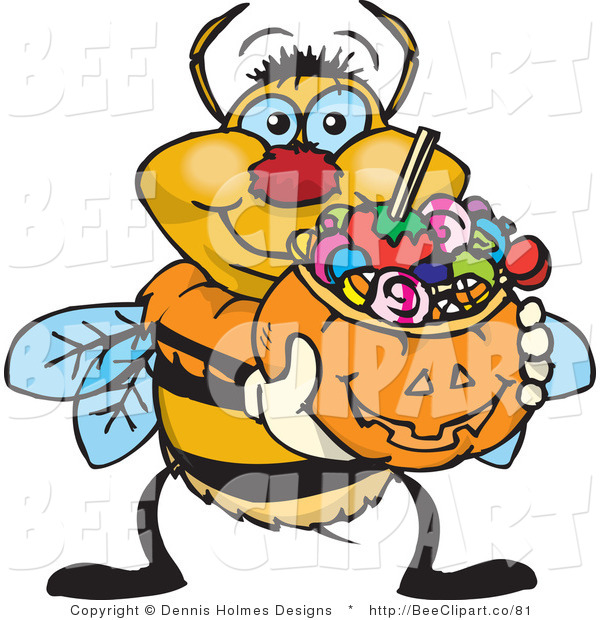Vector Clip Art of a Yellow and Black Trick or Treating Bumble Bee Holding a Pumpkin Basket Full of Halloween Candy