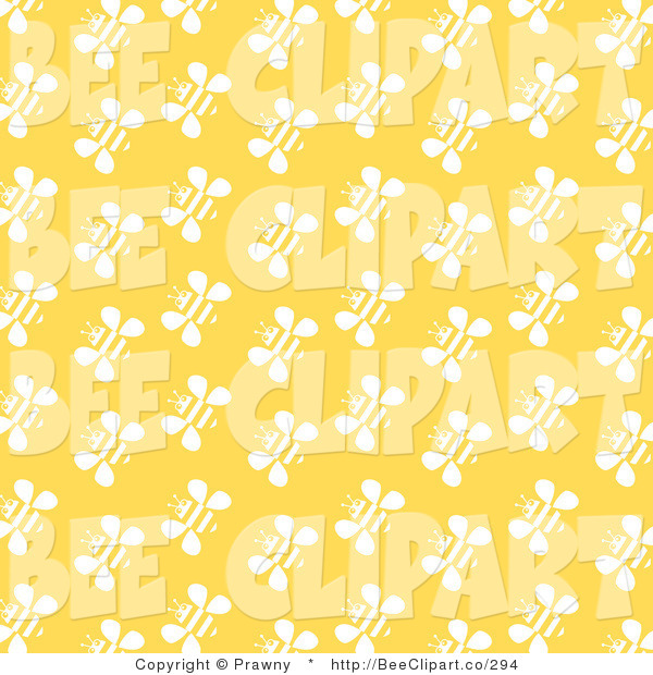 Vector Clip Art of a Yellow Background with Rows of White Bee Pattern