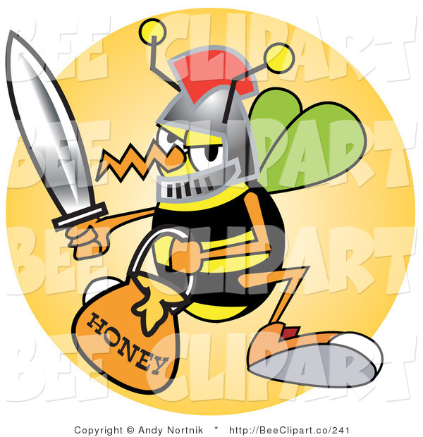 Vector Clip Art of a Yellow Bee in a Helmet, Holding a Sword and Carrying a Bucket of Honey