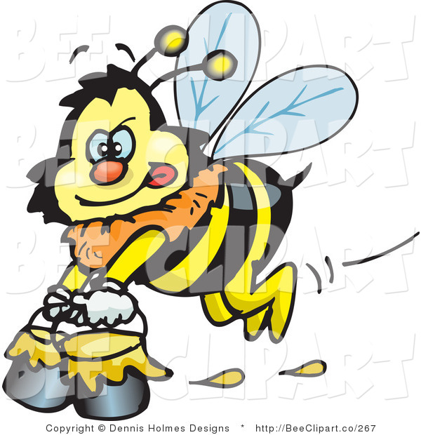 Vector Clip Art of a Yellow Honey Bee Character Carrying Pails of Honey