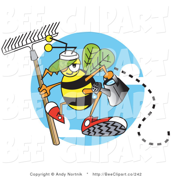 Vector Clip Art of a Yellow Worker Bee Carrying a Rake and Watering Can and Ready to Work in a Garden