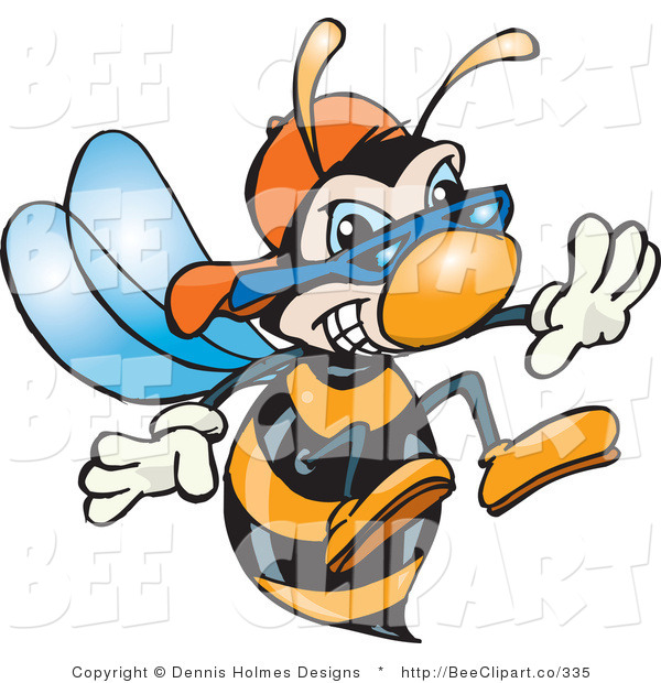 Vector Clip Art of an Aggressive Hornet Bee with Stinger