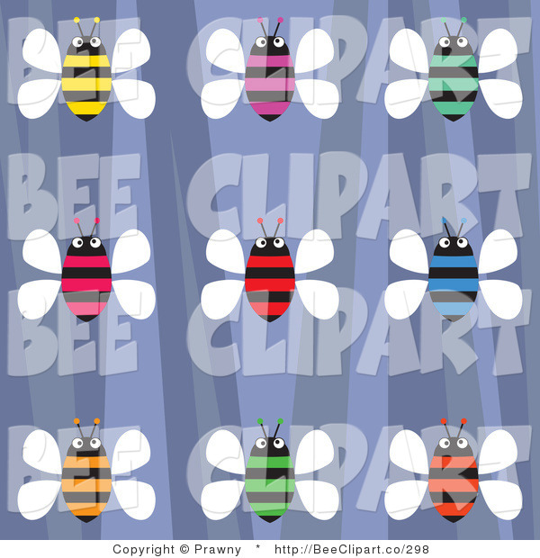 Vector Clip Art of an Old Fashioned Purple Background with Colorful Honey Bees