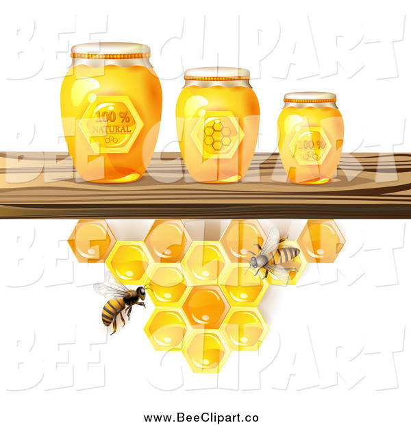 Vector Clip Art of Bees and Honeycombs Under a Shelf with 3d Jars