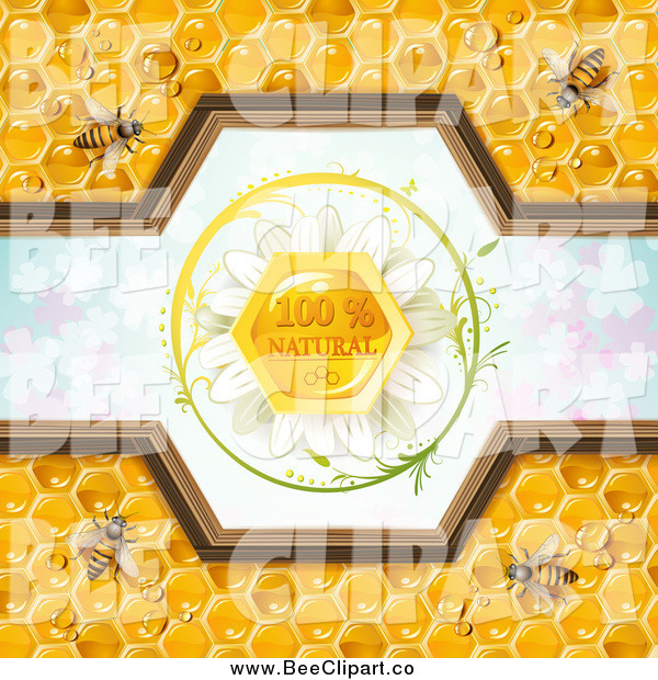 Vector Clip Art of Bees and Honeycombs with a Natural Label