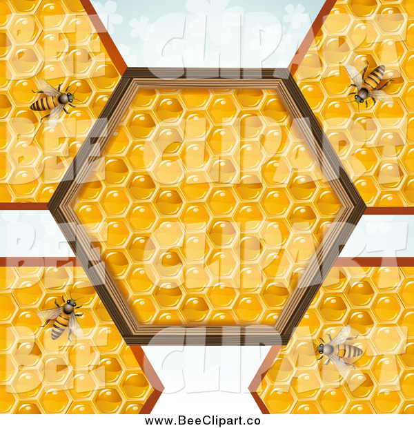 Vector Clip Art of Bees on Honey Combs with a Hexagon Center over Clovers