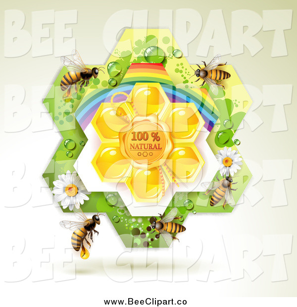 Vector Clip Art of Bees over Natural Honeycombs in a Rainbow Floral Frame