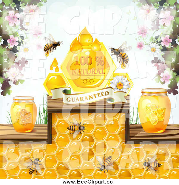 Vector Clip Art of Bees with Honey Jars Blossoms and a Natural Guaranteed Banner