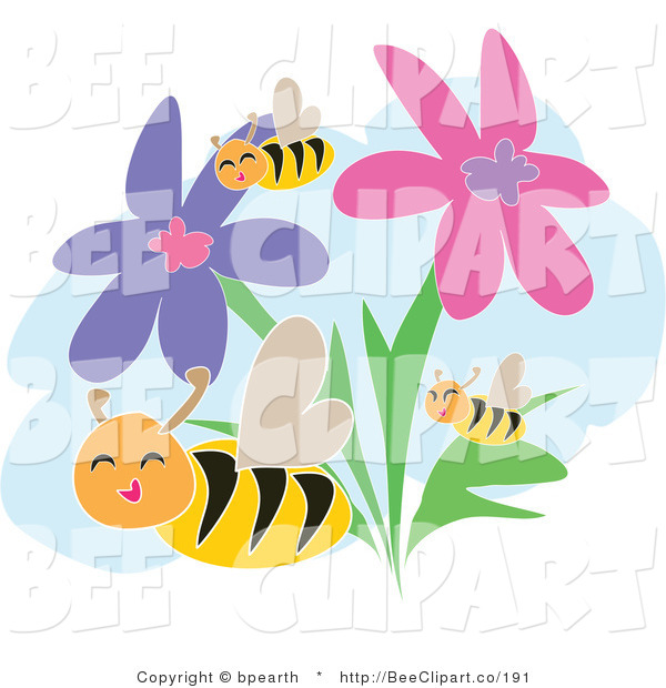 Vector Clip Art of Happy Bees Flying Through Pink and Purple Flowers