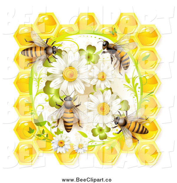 Vector Clip Art of Honey Bees on Daisies and Clovers with Honeycombs