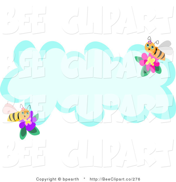Vector Clip Art of Two Honey Bees with Flowers on a Blank Cloud with Text Space