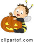 Cartoon Vector Clip Art of a Halloween Baby Boy in a Bee Costume with a Pumpkin by BNP Design Studio