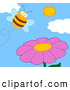 Cartoon Vector Clip Art of a Happy Bee and a Purple Flower by Hit Toon