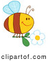 Cartoon Vector Clip Art of a Happy Bee with a White Daisy Flower by Hit Toon