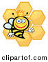 Cartoon Vector Clip Art of a Happy Queen Bee with Honey Combs on White by Hit Toon