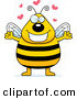 Cartoon Vector Clip Art of a Plump Tall Smiling Bee in Love by Cory Thoman