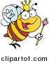 Cartoon Vector Clip Art of a Queen Bee Waving by Hit Toon