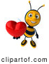 Clip Art of a 3d Bee Character Holding a Heart on White by Julos