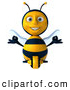 Clip Art of a 3d Bee Character Sitting and Meditating, on White by Julos