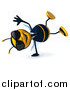 Clip Art of a 3d Happy Business Bee Wearing Shades and Cartwheeling by Julos