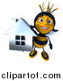 Clip Art of a 3d Queen Bee Holding up a Chrome Home by Julos