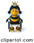 Clip Art of a 3d Sad Queen Bee Pouting in a Wheelchair by Julos