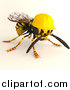 Clip Art of a 3d Worker Wasp Wearing a Hard Hat by Leo Blanchette