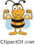 Clip Art of a Bumble Bee Flexing His Arm Muscles by Toons4Biz