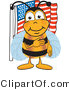 Clip Art of a Bumble Bee Giving the Pledge of Allegiance near an American Flag by Toons4Biz