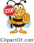 Clip Art of a Bumble Bee Holding His Hand out and a Red Stop Sign by Toons4Biz