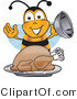 Clip Art of a Bumble Bee Holding the Lid to a Platter with a Thanksgiving Turkey on It by Toons4Biz