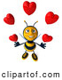 Clip Art of a Grinning 3d Bee Character Juggling Hearts by Julos