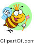 Clip Art of a Queen Bee and Staff by Hit Toon