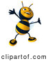 Clip Art of a Smiling 3d Bee Character Dancing by Julos