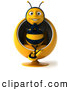 Clip Art of a Smiling 3d Bee Character Sitting in a Chair by Julos