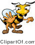 Clip Art of a White and Yellow Female Wasp with Pretty Eyelashes, Holding One Hand out by Dero