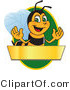 Clip Art of a Worker Bumble Bee Character Logo Mascot over a Blank Banner on a Green Oval by Toons4Biz
