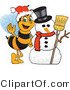 Clip Art of a Worker Bumble Bee Character Mascot by a Snowman by Toons4Biz