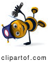 Vector Clip Art of a 3d Mechanic Bee Doing a Hand Stand by Julos