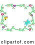 Vector Clip Art of a Bee and Butterfly Floral Frame on White by Bpearth
