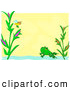 Vector Clip Art of a Bee Frog and Pond Frame over Yellow by Bpearth
