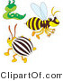 Vector Clip Art of a Bee Slug and Beetle by Alex Bannykh