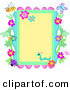 Vector Clip Art of a Border Frame of Flowers and Bugs on Yellow by Bpearth