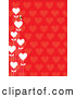 Vector Clip Art of a Cute Bee with White Heart Flowers on a Red Heart Pattern Background by Maria Bell