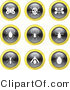 Vector Clip Art of a Digital Collage of Nine Black, White and Yellow Insect Icons by Prawny